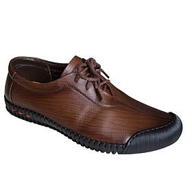 Giày mọi nam cột dây Trường Hải màu đen bò da bò thật cao cấp không bong tróc đế cao su chống mòn không trơn GMTH01278