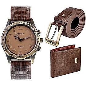 Souarts Birthday-Gift-for-Men Men-Gift-Set Watch Set for Men Artificial Leather Watch+Rachet Belt+Wallet Gift Set with Gift Box Organizer
