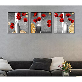 Tranh dán tường bộ 3 lọ hoa hồng đẹp Tipo_0233