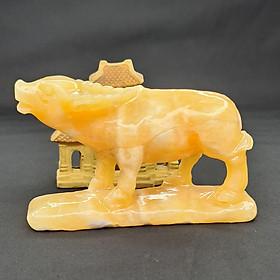 Tượng Phong Thuỷ Tuổi Sửu - Trâu 12 Con Giáp Đá Ngọc Hoàng Long - 8cm - Mx - Hợp Mệnh Thổ, Kim