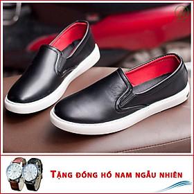 Giày Slip On Nam Aroti Đế Khâu Chắc Chắn Phong Cách Đơn Giản Màu Đen - M498-DEN + ĐH