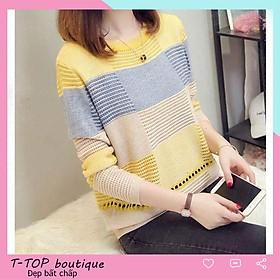 Áo len nữ form rộng, áo len mỏng chất len lưới tay dài hàng đẹp loại 1