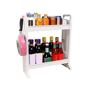 2-Tier Storage Rack Countertop Standing Shelf with Hook Multi-Purpose Organizer for Bathroom Kitchen Bedroom