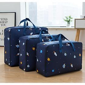 Bộ 3 túi đựng chăn màn quần áo chống thấm - Màu tím than, họa tiết ngẫu nhiên