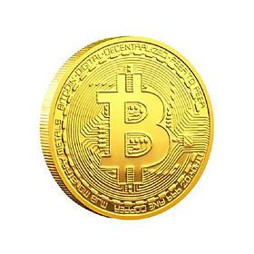 Xu Bitcoin Vàng, đường kính xu 4cm, chất liệu Niken mạ một lớp màu vàng, dùng để sưu tầm, lưu niệm, làm đồ thủ công mỹ nghệ - SP002456