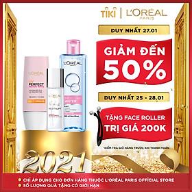 Bộ chống nắng dưỡng da thách thức nắng bụi trắng hồng tức thì L'Oréal Paris UV Perfect