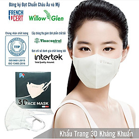Một Hộp Gồm 10 Cái Khẩu Trang 3D FACE MASK, kháng Khuẩn, Chống Bụi, Màu Trắng - Đạt Các Chứng Chỉ ISO 13485, ISO 9001, CE, FDA, TGA.