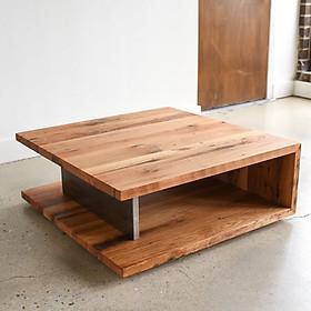 Bán sofa phá cách với thiết kế độc lạ, gỗ tự nhiên 100%. Thiết kế hình vuông thông dụng nhưng được kết hợp với gỗ nguyên tấm dưới chân bàn