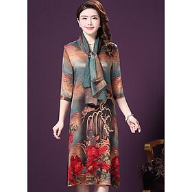 Đầm suông trung niên bigsize in họa tiết phối khăn rời GOTI1521295