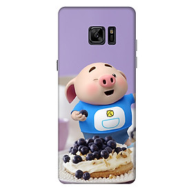 Ốp lưng nhựa cứng nhám dành cho Samsung Galaxy Note FE in hình Heo Con Ăn Trái Cây