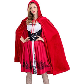 Cosplay Women Christmas Costume Little Red Riding Hood Cloak Adult Cosplay Party Plus Size Stage Performance Set Red 2XL