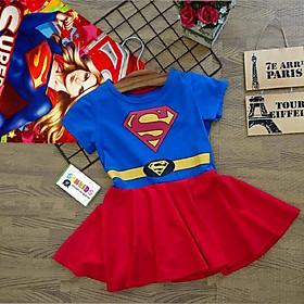 Váy đầm siêu nhân kèm áo choàng cho bé gái VSN06