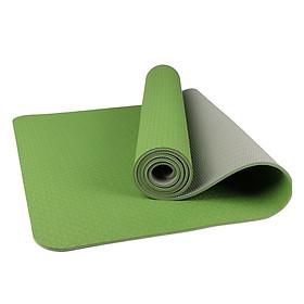Thảm tập yoga TPE 6mm 2 lớp (Xanh lá ) + Túi và dây buộc