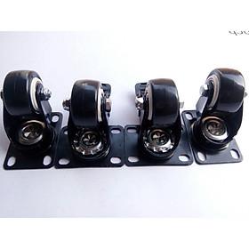 Bộ 4 bánh xe đẩy hàng 7.5 cm viền đen, có khóa chống trượt xoay 360 độ