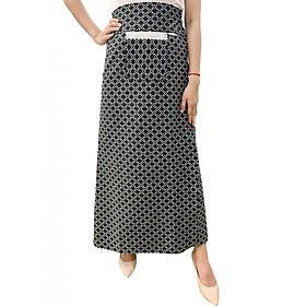 Váy chống nắng xẻ tà chất liệu KAKI hoa văn