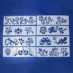 Bộ 8 Thước Vẽ Mỹ Thuật Trang Trí Sáng Tạo - Bông Hoa