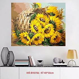 Tranh sơn dầu số hoá tự tô màu về hoa - Mã BH0706 Giỏ hoa hướng dương