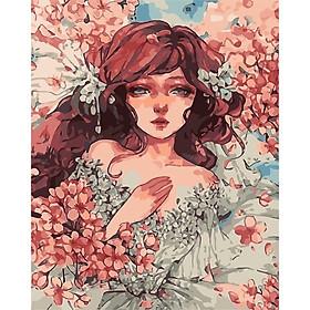 Tranh số hoá tự tô đã căng khung nàng thơ váy hoa, tranh tô màu theo số