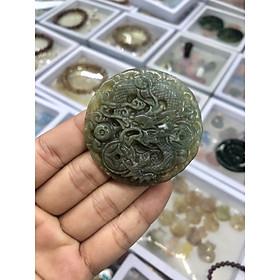 Mặt dây chuyền Rồng ngậm hạt châu phong thủy đá ngọc băng tảo