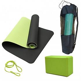 Thảm Tập Yoga 2 Lớp + Gạch Tập Yoga + Bao Đựng Thảm Tập Yoga + Dây Thảm Tập Yoga miDoctor (màu ngẫu nhiên)