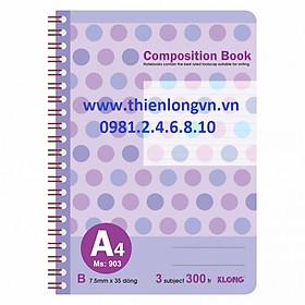 Sổ lò xo kép bìa nhựa A4 - 300 trang; Klong 903 bìa tím