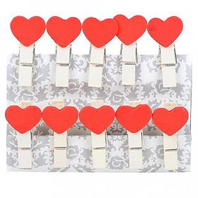 Kẹp gỗ trái tim ( 10 kẹp/ bộ)
