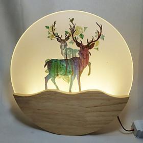 Đèn trang trí gắn tường phòng ngủ, phòng khách LED hình con nai