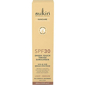 Sukin SPF 30 Tinted Light/Medium Sunscreen Lotion 60ml