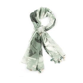 Khăn Choàng Cổ Họa Tiết Chấm Bi Đen Trắng Nền Xanh Lá - Cotton Viscose - 180x100cm - Mã KC090