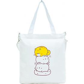 Túi Vải Đeo Chéo Tote Bag Họa Tiết 3 Mèo XinhStore