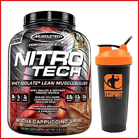 Sữa Tăng Cơ Nitro Tech - 4lbs - VỊ Mocha Cappuccino Swirl - Tặng Bình Lắc (Màu Ngẫu Nhiên)