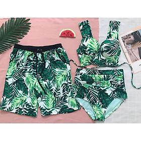 Đồ bơi nam nữ đôi họa tiết hoa lá mặc đi biển đi bơi đẹp