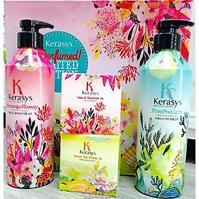 Dầu xả nước hoa KeraSys Blooming& flowery - Hương tuyết tùng và linh lan Hàn Quốc 600ml tặng kèm móc khoá-1