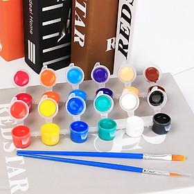 Bộ 12 Màu Nước Mini Water Color Cao Cấp Tặng Kèm 2 Bút Lông Cọ Vẽ Và Khay Nhựa Pha Màu Tiện Dụng - Bộ Màu Nước Nhỏ Gọn 24 Màu Sắc Chất Lượng Mịn Màng Sắc Nét Tối Ưu - Hàng Chính Hãng VinBuy