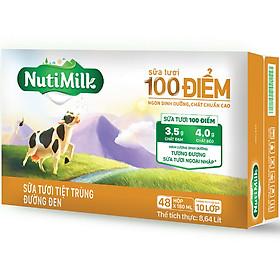 Thùng 48 hộp NutiMilk Sữa tươi 100 điểm - Sữa tươi tiệt trùng Đường đen hộp 180ml