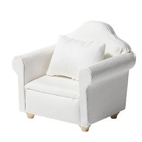 1:12 Dollhouse Miniature Mini Furniture White Fabric Sofa 3-Piece Miniature Model Scene