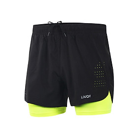 Lixada Men's 2-in-1 Running Shorts Quick Drying Breathable Active Training Exercise Jogging Cycling Shorts with Longer Liner-4