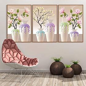 Tranh dán tường 3D Bộ 3 bình hoa đẹp