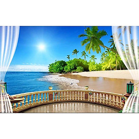 Tranh dán tường cửa sổ phong cảnh 3d 46