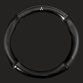 Bọc vô lăng TTAUTO cho xe ô tô từ 4 đến 7 chỗ chất liệu da vân carbon cao cấp có logo MITSUBISHI (Đen)
