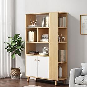 Tủ sách đa năng TUR041 – Thiết kế 2 mặt, 7 kệ, 2 cửa mở gỗ cao cấp 150cm - Giao màu ngẫu nhiên