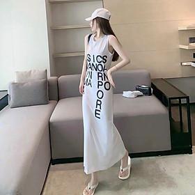Váy suông mùa hè - đầm suông sát nách mặc hè in chữ pore cá tính