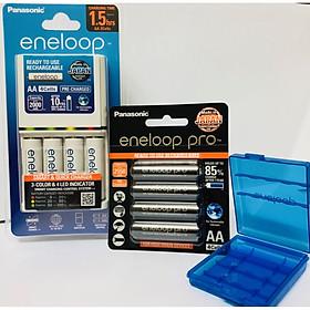 Bộ combo bộ sạc eneloop K-KJ55MCC40V và pin sạc eneloop pro vỉ 4 viên AA BK-3HCCE/4BV-Panasonic hàng chính hãng