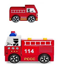Bộ 2 xe Mô hình và Lắp ráp mô hình Xe Cứu Hỏa - Hàng Chính Hãng Winwintoys