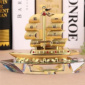 Mô hình thuyền buồm phong thủy pha lê và hợp kim trang trí sang trọng