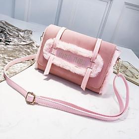 Túi xách nữ thời trang VBA99 da lộn kiểu quý phái màu hồng phấn 2020