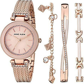 Anne Klein Women's Swarovski Crystal Accented Rose Gold-Tone Textured Bangle Watch and Bracelet Set, AK/3394BHST