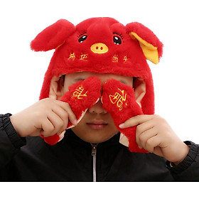 Mũ lông tai giật Heo đỏ - Năm mới may mắn