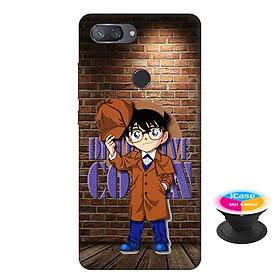 Ốp lưng nhựa dẻo dành cho Xiaomi Mi 8 Lite in hình Conan Detective - Tặng Popsocket in logo iCase - Hàng Chính Hãng