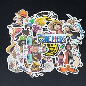 Bộ 50 miếng sticker chủ đề One Piece mẫu mới 2020 - trang trí mũ bảo hiểm xe máy, xe đạp, laptop, vali, điện thoại, đàn, skateboard, tủ quần áo, nắp lưng điện thoại... chống nước, lâu phai dễ sử dụng